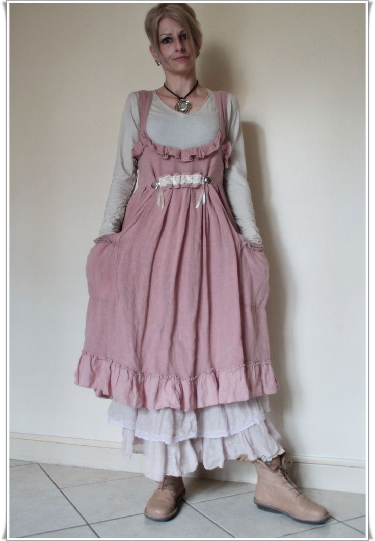 Robe rose en lin les ours t 2013 port e sur jupon for Tenue shabby chic