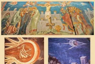 Ancient aviation is illustrated in this painting  of Christ's cruisfiction. Did the ancients of this period in history have aviation technology, or does this art work depict visitors from beyond?