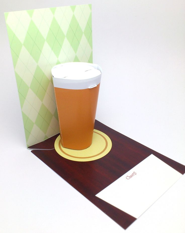 Pop-up card with 3D pint of beer.  For anyone who likes the amber ale.