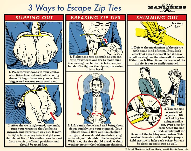 3 Ways to Escape Zip Ties // via http://www.itstactical.com/intellicom/tradecraft/how-to-escape-from-zip-ties/