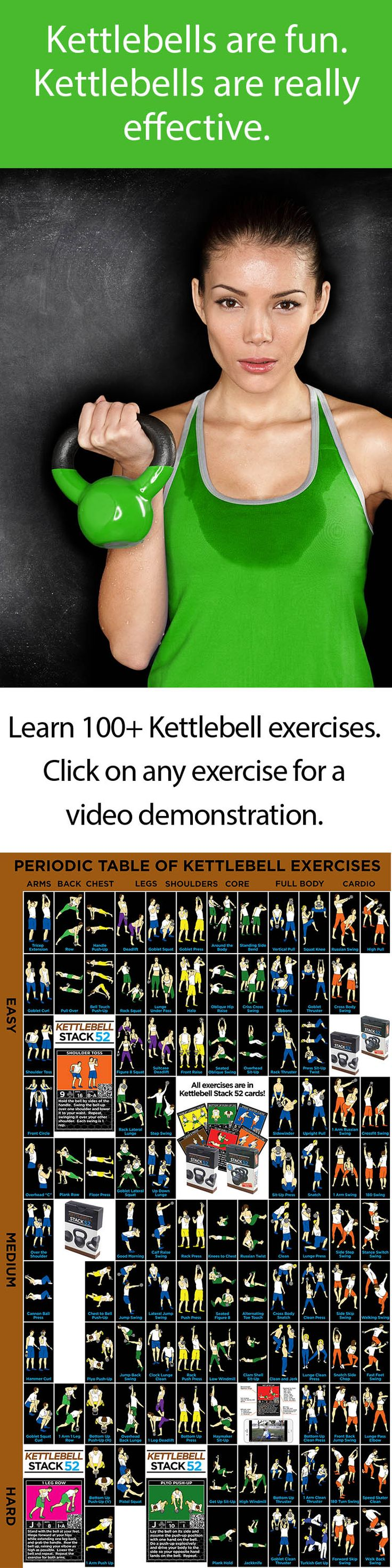 This free Periodic Table of Kettlebell Exercises has over 100 kettlebell exercises arranged by muscle group and difficulty.  Click on any exercise for a video demonstration!  http://strength.stack52.com/periodic-table-of-kettlebell-exercises/