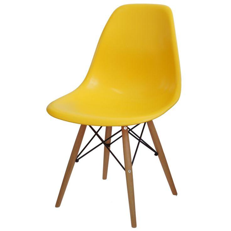 Cadeira Eames Polipropileno Amarelo Base Madeira - 14911 - SunHouse