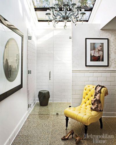 Marc & Melissa Palazzo, California home, bathroom, yellow tufted chair, white, skylights, chandelier