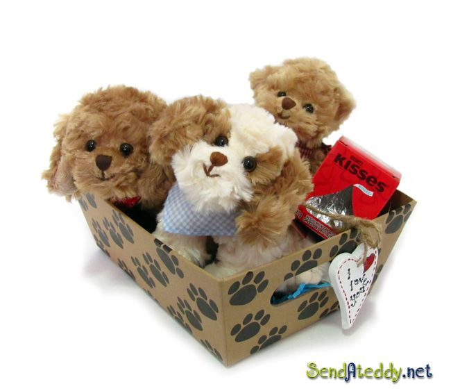 Three little darlings & a big kiss!  http://www.sendateddy.net/love-teddy-bears.php #Valentinegift #sendateddy #valentineteddybears