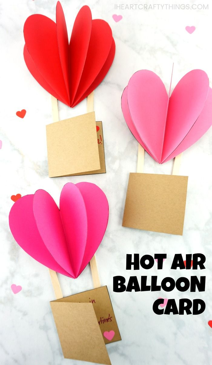 3d Hot Air Balloon Card Valentine S Cards For Kids Valentine Crafts For Kids Valentines Card For Husband