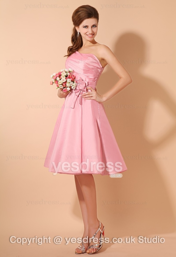 33 best bridesmaid dresses images on pinterest bridesmaids 2013 best selling pink one shoulder a line ruched flowers knee length short bridesmaid dress ombrellifo Gallery
