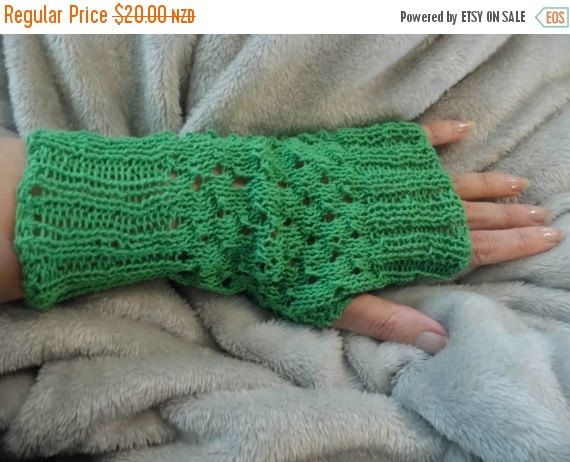 "Green Fingerless Gloves, Lace Hand knitted, Christmas gift, 100% Cotton yarn,  soft and fashionable. Hand wash only, inside out, and lie flat to dry.Great companion for a night on the town, early morning jogs or bicycling, driving, or touchscreen devices, ""one size fits most adult/teens"". Gloves measure approx 24 cm in length."
