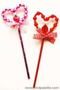 Beaded Heart Wand:   Make this beaded heart-shaped fairy wand with pipe cleaners, beads and a drinking straw.