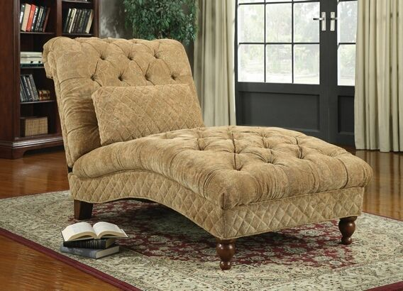 902077 Golden sand color ultra plush chenille fabric tufted design chaise lounger with turned legs   – Muebles