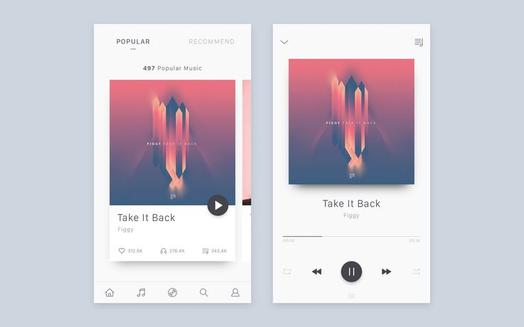 Music app UI & Interaction – MaterialUp