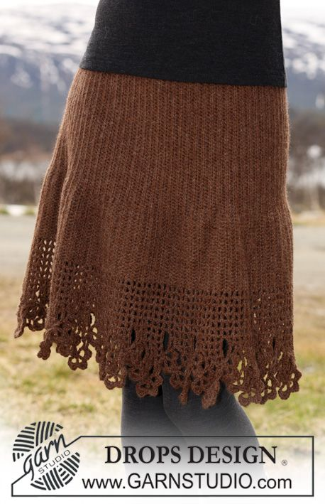 "cute! w/ directions  -DROPS Skirt in ""Classic Alpaca"" crochet from side to side with lace border along bottom edge. Size S to XXXL"