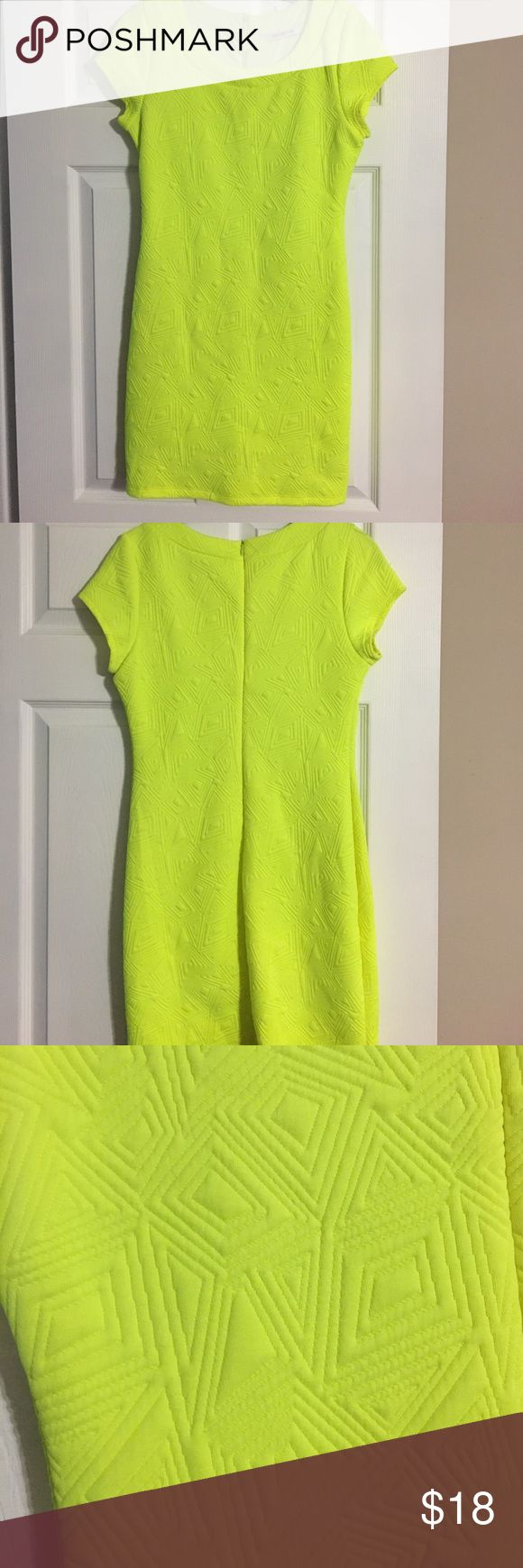 Lime geo-pattern mini dress Purchased in south beach, Miami for a girls night out... this dress fits super cute and is stretch material.... lightly lined and zips in the back Arden B Dresses Mini