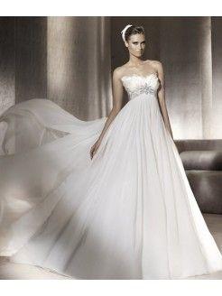 Empire Sweetheart Chiffon Court Train Beading Wedding Dress