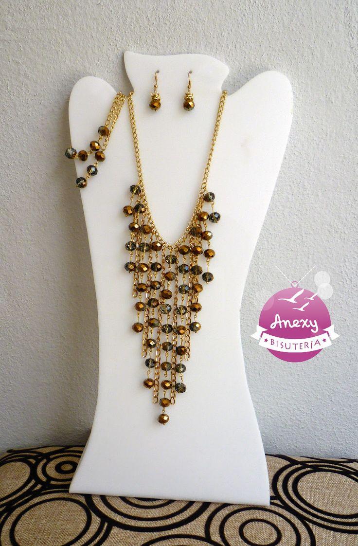 Collar Árabe de Cristales plateados y dorados