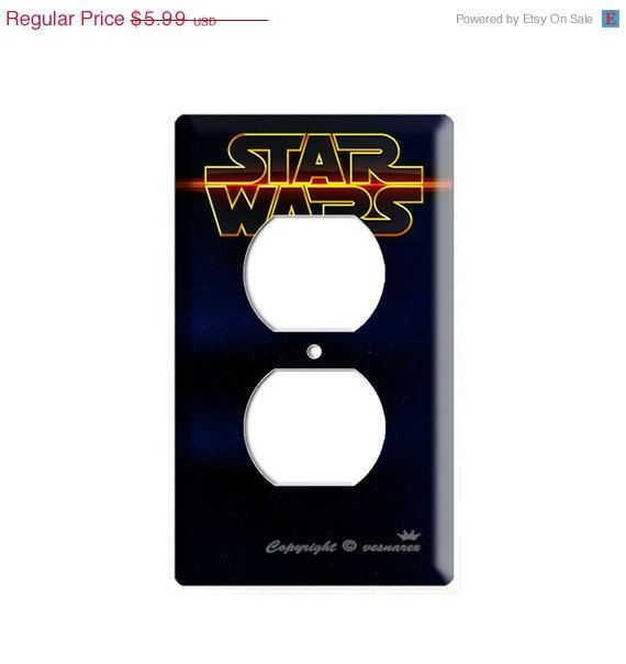Limited time sale Star Wars deep space logo emblem Two hole outlet cover plate children boys room bedroom decoration play station WII DS PS on Etsy, $5.09