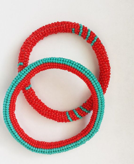 Red and Turquoise Beaded Bracelet Peyote and by SoHipCrafts