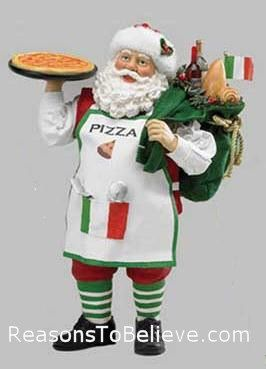 Italian Santa with Pizza--Italian Santa with Pizza, dressed in the colors of Italy and carrying a toybag full of Italian gifts and treats. Inspired by antique greeting cards each Fabriche Santa design begins with a drawing.