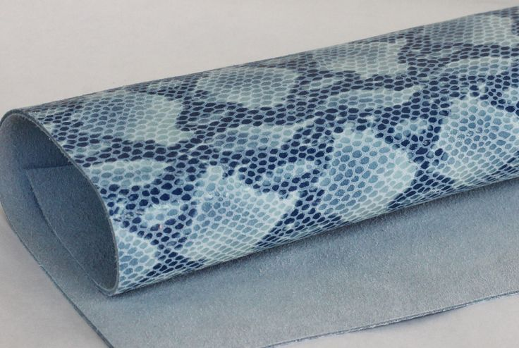 Python Print Genuine Leather, Snakeskin Print Leather, Blue Genuine Leather by JLLeatherSupplies on Etsy