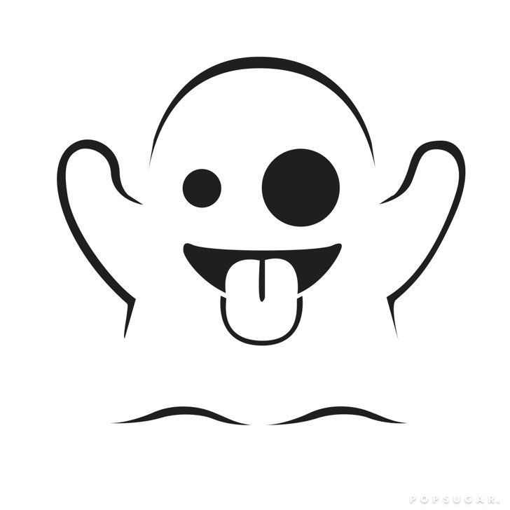 Pin for Later: 49 Free Templates For the Coolest Jack-O'Lantern on the Block  Ghost Emoji Templates by Morgan Pugh