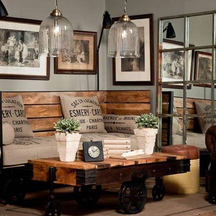 Ideas Family Room With Rustic Table And Chair With Chusion Under Glass Pendant Lights