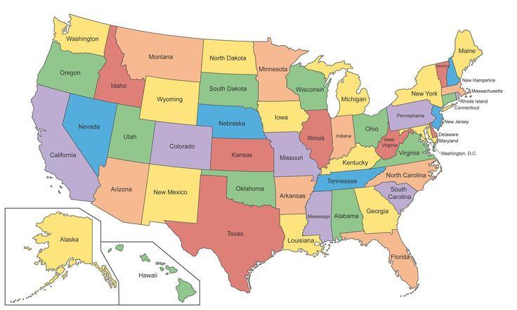 Bundesstaaten der USA mit Hauptstädten - Wie heißen die Bundesstaaten der USA und ihre Hauptstädte.   Die USA (= United States of America, Vereinigte Staaten von Amerika) bestehen aus 50 Bundesstaaten plus der Hauptstadt Washington D.C. als Bundesdistrikt.