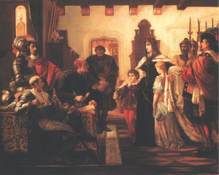 https://www.facebook.com/owl.a.bagoly/photos Madarász Viktor: Zrínyi Ilona Munkács várában (Zrínyi Ilona vizsgálóbírái előtt) 1859 Olaj, vászon