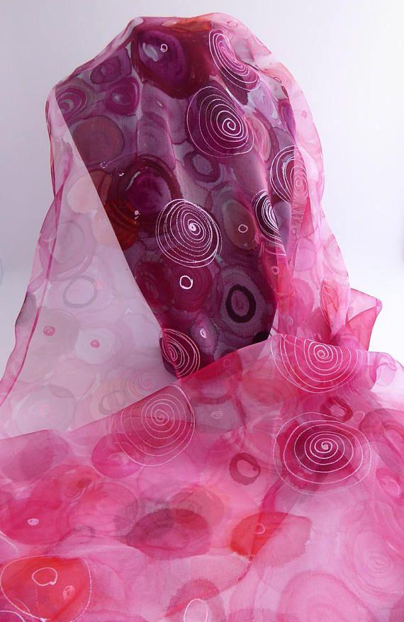 169e89740a0f Etole écharpe foulard en Mousseline de Soie peint   Purlpe rain chez ...
