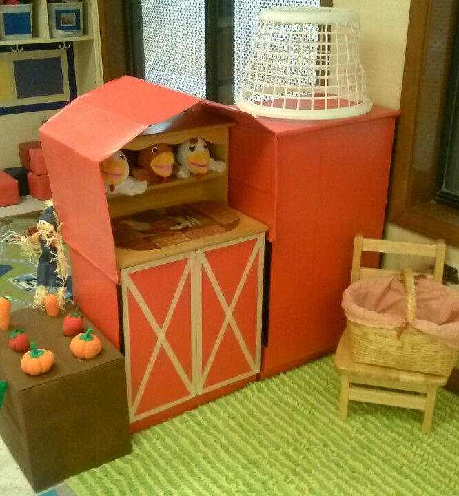 Dramatic Play Farm! I turned the kitchen set into a barn and silo with contact paper and tape :)