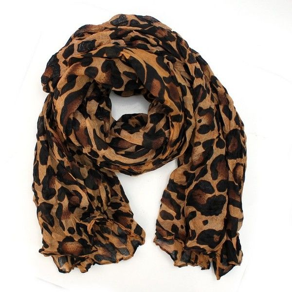 AllBueaty Fashion Women Ladies Brown Leopard Print Soft Long Stole... found on Polyvore featuring accessories, scarves, brown shawl, long shawl, brown scarves, shawl scarves and stole