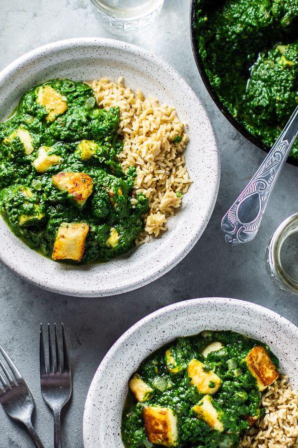 Halloumi Saag Paneer Lean Green Nutrition Fiend Recipe Saag Paneer Saag Healthy Bowls Recipes