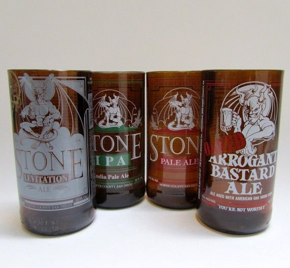 Mixed Set of Four Stone Brewery Recycled Glass by BottlesNWood