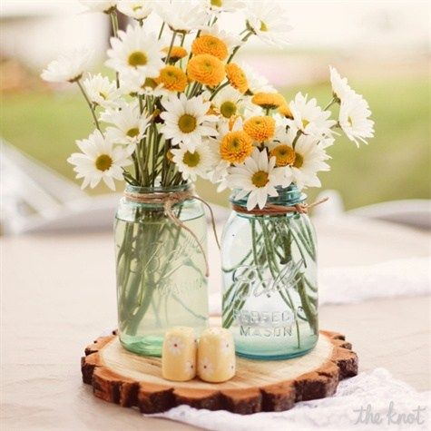 Beautiful summer flowers centrepiece #Bridal #SummerWedding