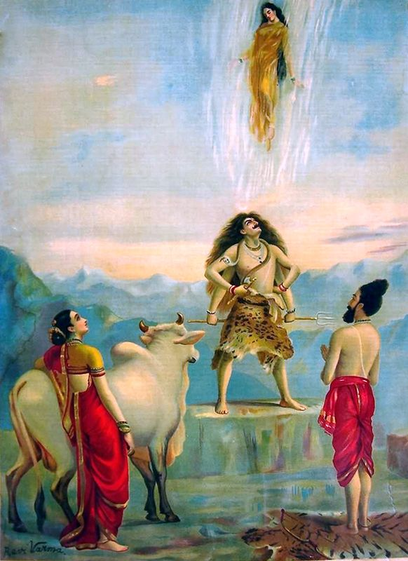 Bhagiratha prayed for Brahama to bring Ganga down to Earth to cleanse the souls of his relatives and release them to heaven.  Brahma agreed, and ordered Ganga down to the Earth and then to the nether regions. Ganga felt that this was insulting and decided to sweep the whole Earth away as she fell. Alarmed, Bhagiratha prayed to Shiva that he break up Ganga's descent. Ganga fell on Shiva's head, but Shiva trapped her in his hair and let her out in small streams.