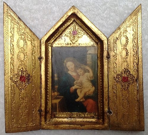 Gold Gilt Italian Florentine Tole Wood Triptych Icon Madonna & Child Jesus Italy