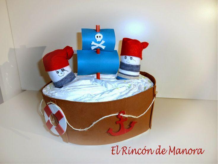 Barco pirata hecho con pañales