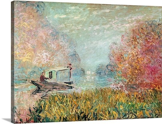 The Boat Studio on the Seine, 1875 by Claud Monet: 1875 Oil, Canvases 494 00, Canvas Prints, Oil On Canvas, Canvas 494 00, Oils, Photo Canvas, Big Canvas, Boats Studios