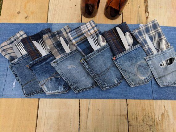 Denim Pockets, Distressed Denim Silverware Holder, Jean Pocket Utensil Holder, Country Wedding Decor, Jean Wedding Decor, Napkin Holder