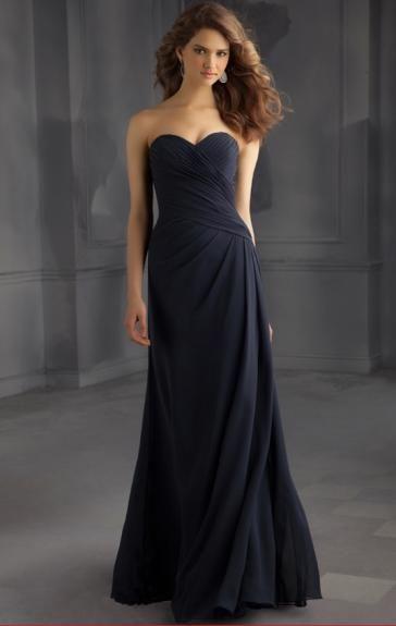 Unusual Chiffon Navy Bridesmaid Dress BNNBE0003-Bridesmaid UK
