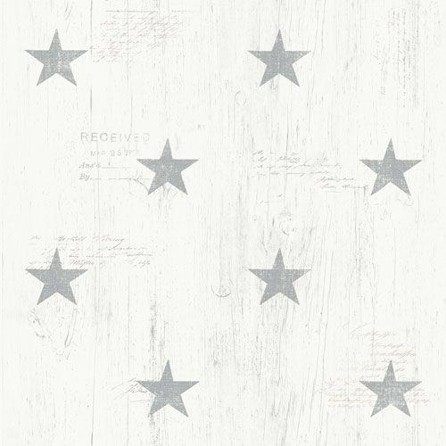 Grå stjärnor på trämönstrad botten från kollektionen Hantverk, 17321. Klicka för fler fina tapeter för ditt hem!