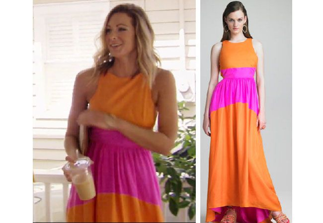 Southern Charm, Kathryn Dennis, Chelsea Meissner, #SC, #bravo, #southerncharm, #scharm, worn on tv, tv fashion, clothes from tv shows, Southern Charm outfits, Southern Charm fashion, Southern Charm style, star style, shop your tv, bravo, reality tv, season 4, episode 4, polo party, Tibi orange and pink colorblock dress, Tibi featherweight colorblock dress