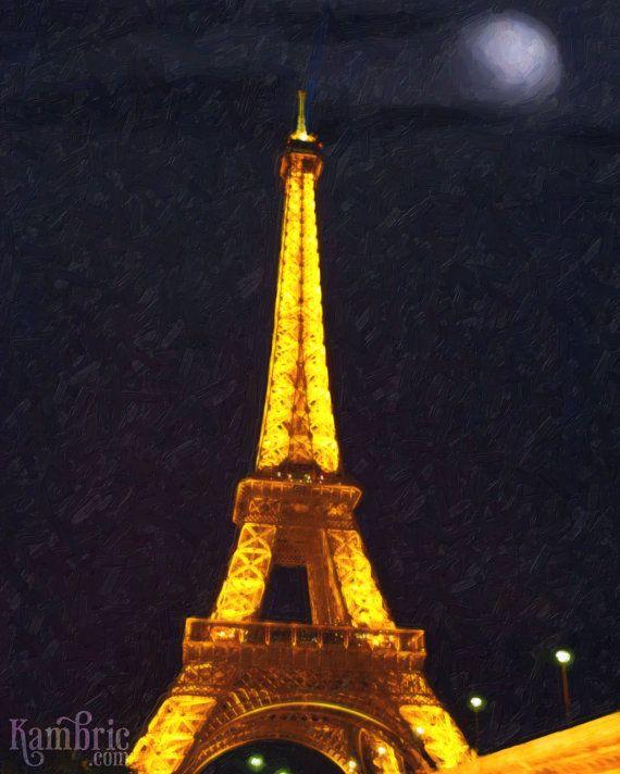 Eiffel Tower by Night Paris France  Giclee Fine Art by KambricArt, $15.00
