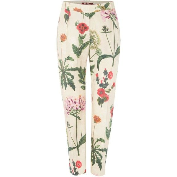 Max Mara Alton floral print trousers (145 AUD) ❤ liked on Polyvore featuring pants, beige, clearance, white floral pants, maxmara pants, cigarette trousers, floral print pants and maxmara