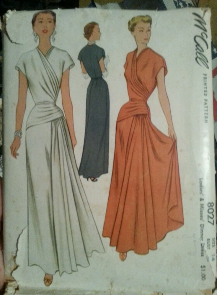 McCall 8027 Dinner Evening Dress 40s Sz14/32 FF completeness implied return if not complete env some damage contents good sld 144.5+fr 28bds 12/16/15