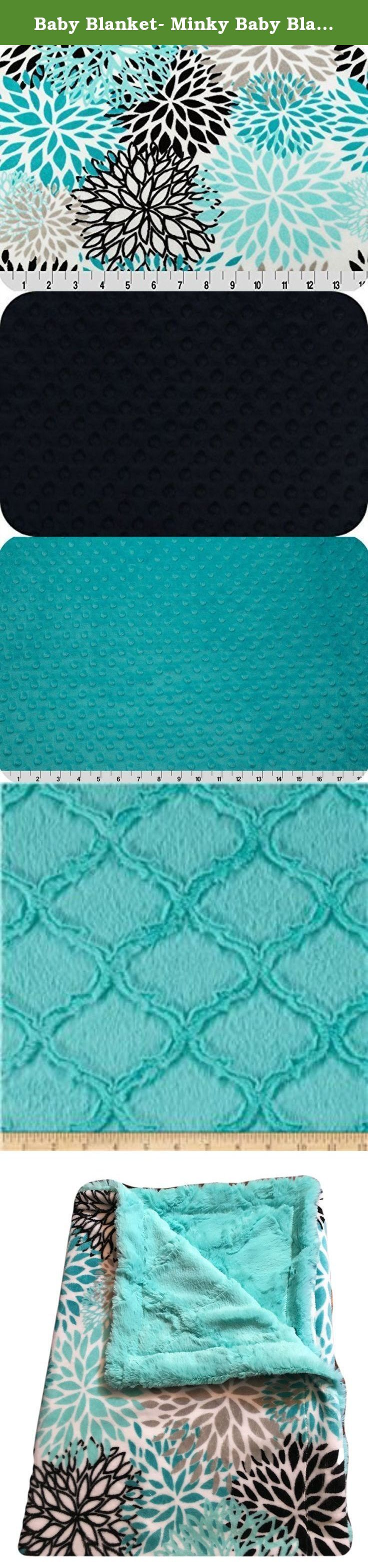 Baby Blanket- Minky Baby Blanket- Teal Blanket, Baby Boy Blanket-Baby Girl Blanket - Stroller Blanket - Car Seat Blanket. Personalized Minky Baby Blanket with a Burst of Teal, Gray, Blue and Black on a snow white background. This is a double side Minky blanket that is so soft and cozy. Will be a wonderful addition to your Baby Boy or Girl Minky Blanket needs The sizing (29 x 36 in) is great for a Stroller or Car Seat blanket, ready to use when your child needs cozy comfort. Good for Tummy...