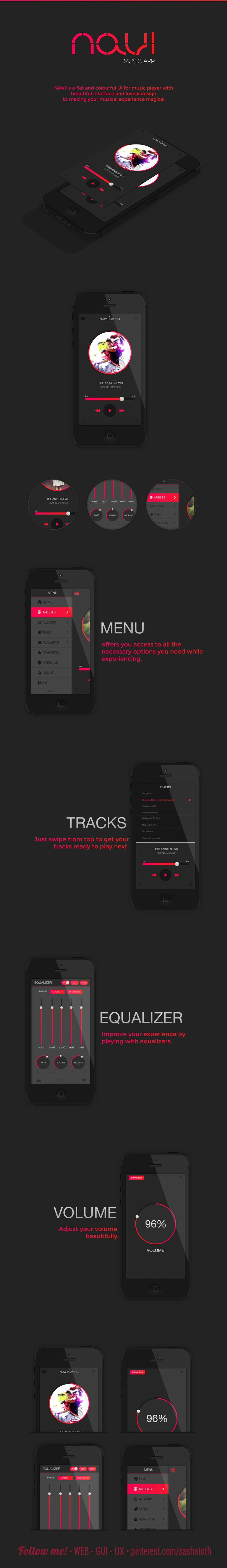 NAVI - Music App by Mansoor MJ, via Behance *** NAVI is a flat and colourful UI for music player with  beautiful interface and lovely design  to making your musical experience magical. *** #app #gui #ui #behance