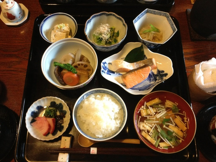 Traditional Japanese Breakfast at the Cool Japanese inn, Nunoya, Kyoto