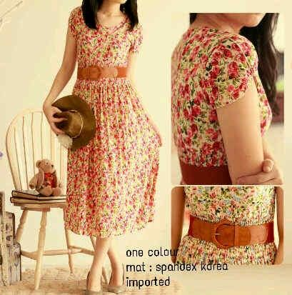 Roses midi dress +belt Rp.75rb Min2 Rp.70rb,freesize fit s-xl, spdx korea, imported High Quality,ready