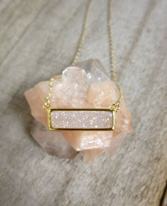 Hey, I found this really awesome Etsy listing at https://www.etsy.com/listing/235507812/natural-white-ab-druzy-necklace-titanium