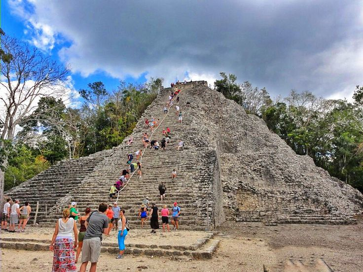 Mexican Pride: Coba is one of the few archeological sites in Mexico where you are still allowed to climb up the pyramid.   #Touristplaces #CancunTourisim #Mexico