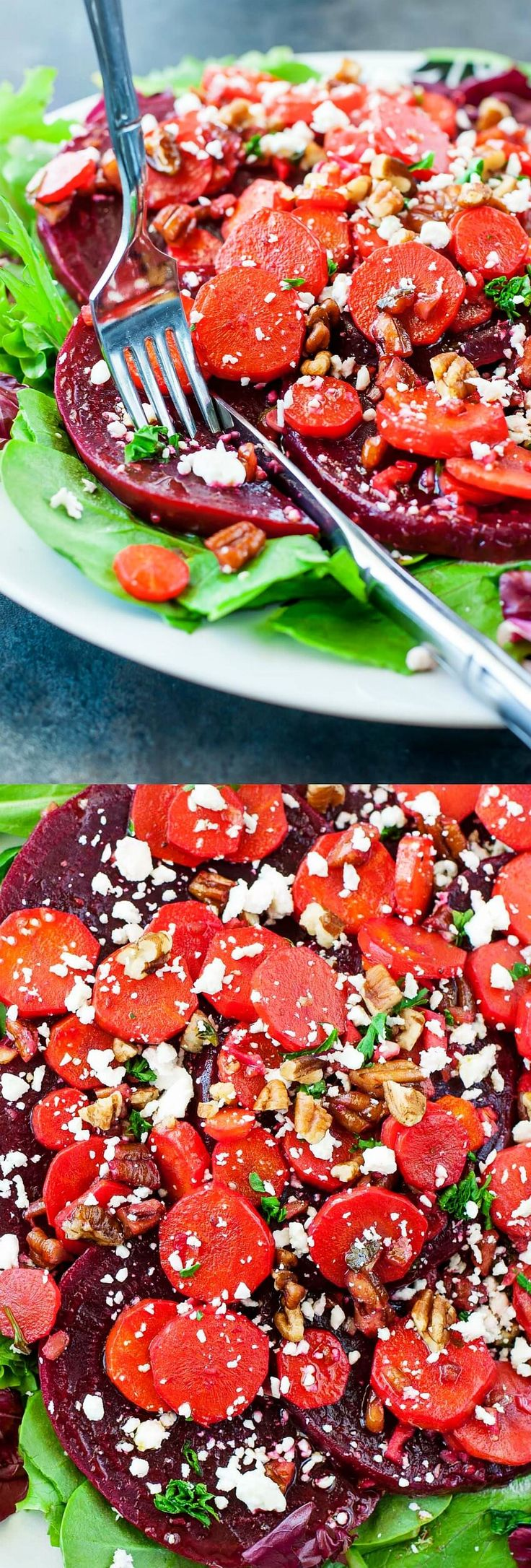 Healthy Warm Carrot Beet Spinach Salad - GF + Vegetarian - Swap out the feta and use clarified butter for a dish that's both paleo friendly and Whole 30 compliant!